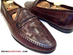 Santoni JENNINGS Mens Woven Loafers Crocodile Alligator Skin Accents