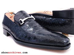 Ferragamo ALBERT 2 Crocodile Alligator Mens Shoes Loafers Gancio Bit