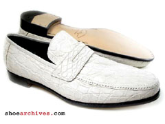 Ferragamo ALTO Mens Genuine Crocodile Skin Shoes Loafers White