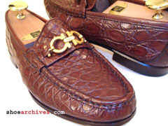 Ferragamo Mens Crocodile Alligator Mens Shoes
