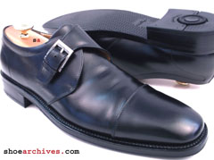 Ferragamo GIOTTO Monk Strap Black Mens Shoes