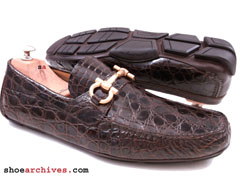Salvatore Ferragamo PARIGI 2 Crocodile Alligator Loafers Shoes Drivers Mens