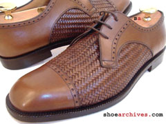Salvatore Ferragamo ZACCARIA Mens Woven Derby Blucher Shoes Lace Ups Leather Sole Made In Italy